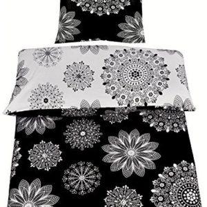 Hübsche Bettwäsche aus Renforcé - schwarz 135x200
