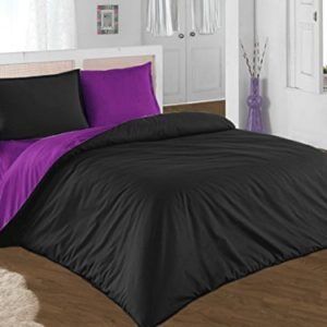 Hübsche Bettwäsche aus Renforcé - schwarz 200x200 von GH Homeshop