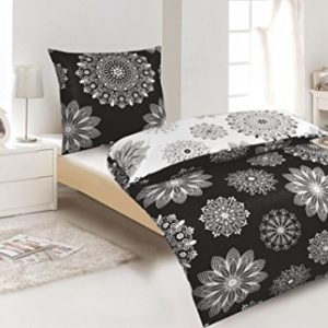 Kuschelige Bettwäsche aus Renforcé - schwarz weiß 135x200 von Protex