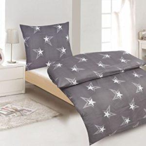 Hübsche Bettwäsche aus Renforcé - Sterne grau 135x200 von Protex
