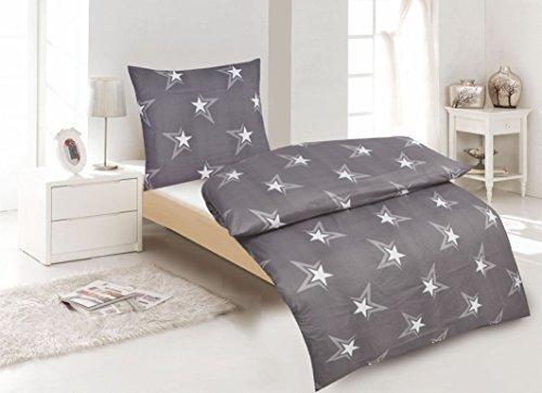h bsche bettw sche aus renforc sterne grau 135x200 von. Black Bedroom Furniture Sets. Home Design Ideas