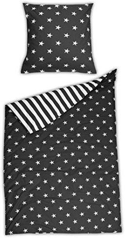 kuschelige bettw sche aus renforc sterne schwarz. Black Bedroom Furniture Sets. Home Design Ideas