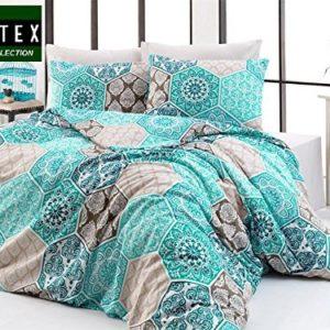 Hübsche Bettwäsche aus Renforcé - türkis 155x200 von KESTEX