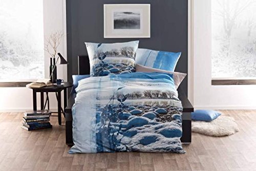 Kuschelige Bettwäsche aus Satin - blau 135x200 von Kaeppel