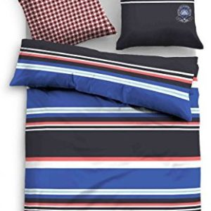 Schöne Bettwäsche aus Satin - blau 135x200 von TOM TAILOR
