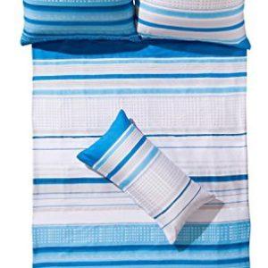 Hübsche Bettwäsche aus Satin - blau 155x200 von Erwin Müller