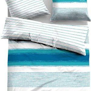 Schöne Bettwäsche aus Satin - blau 155x200 von TOM TAILOR