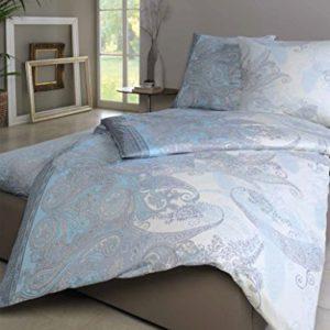 Schöne Bettwäsche aus Satin - blau 155x220 von Estella