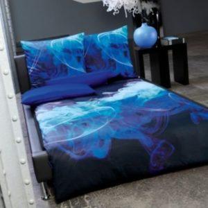 Kuschelige Bettwäsche aus Satin - blau 155x220 von Estella