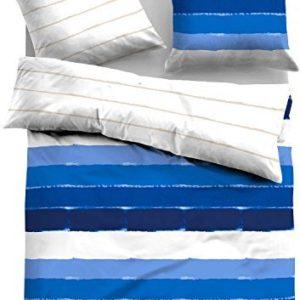 Hübsche Bettwäsche aus Satin - blau 155x220 von TOM TAILOR