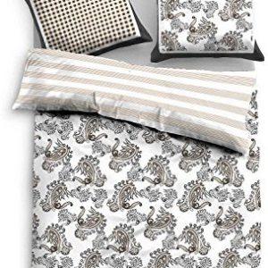 Hübsche Bettwäsche aus Satin - braun 155x200 von TOM TAILOR