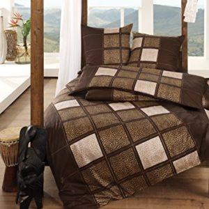 Schöne Bettwäsche aus Satin - braun 155x220 von Estella