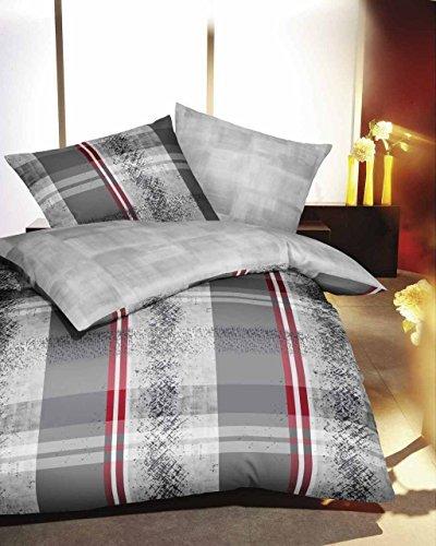 Kuschelige Bettwäsche aus Satin - grau 135x200 von Kaeppel