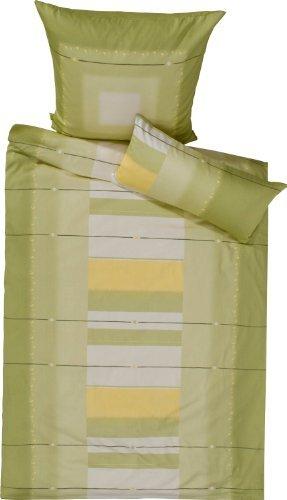 Kuschelige Bettwäsche aus Satin - grün 135x200 von Erwin Müller