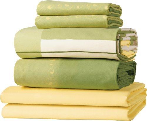 Schöne Bettwäsche aus Satin - grün 155x200 von Erwin Müller