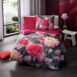 Hübsche Bettwäsche aus Satin - rosa 135x200 von Kaeppel