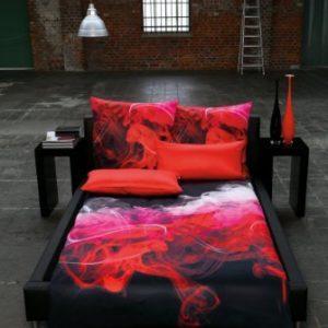 Schöne Bettwäsche aus Satin - rot 135x200 von Estella