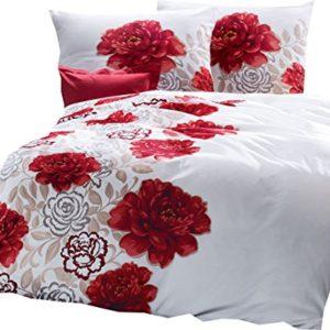 Hübsche Bettwäsche aus Satin - rot 135x200 von Kaeppel