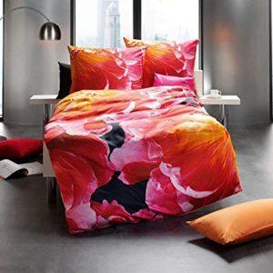 Schöne Bettwäsche aus Satin - rot 155x220 von Kaeppel