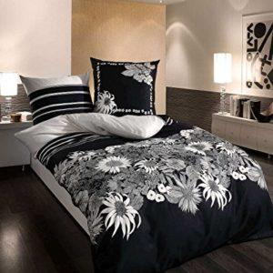 Kuschelige Bettwäsche aus Satin - schwarz weiß 135x200 von Kaeppel