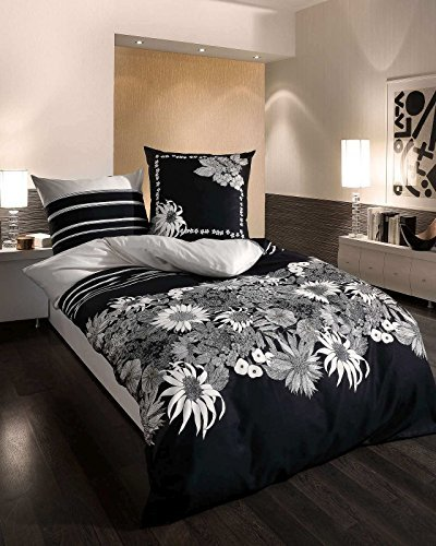 kuschelige bettw sche aus satin schwarz wei 135x200 von kaeppel bettw sche. Black Bedroom Furniture Sets. Home Design Ideas