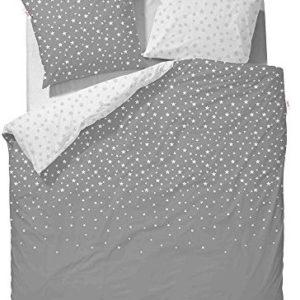 Hübsche Bettwäsche aus Satin - Sterne grau 135x200 von ESPRIT