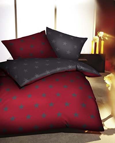 sch ne bettw sche aus satin sterne rot 155x220 von kaeppel bettw sche. Black Bedroom Furniture Sets. Home Design Ideas