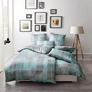 Kuschelige Bettwäsche aus Satin - türkis 135x200 von Estella