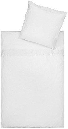 Kuschelige Bettwäsche aus Satin - weiß 135x200 von Estella