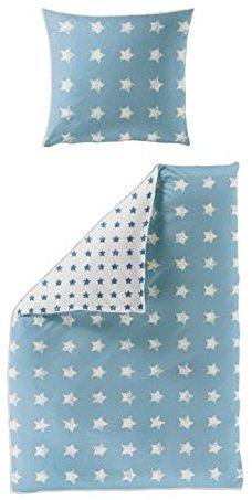 Hübsche Bettwäsche aus Seersucker - blau 135x200 von Bierbaum