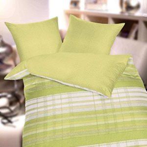 Schöne Bettwäsche aus Seersucker - grün 155x220 von Kaeppel