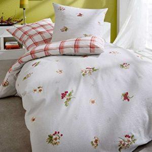 Schöne Bettwäsche aus Seersucker - rosa 155x220 von Kaeppel