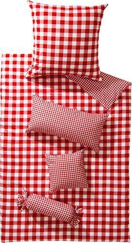 Hübsche Bettwäsche aus Seersucker - rot 135x200 von Erwin Müller