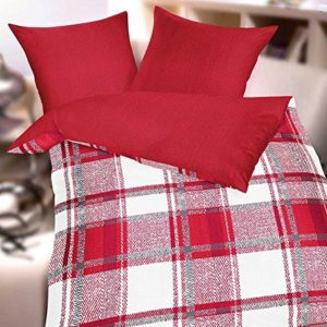 Hübsche Bettwäsche aus Seersucker - rot 155x220 von Kaeppel