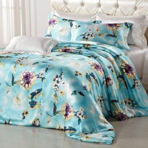 Kuschelige Bettwäsche aus Seide - blau 135x200 von Orifashion