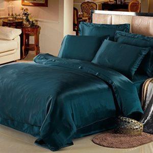 Traumhafte Bettwäsche aus Seide - blau 220x240 von Lilysilk
