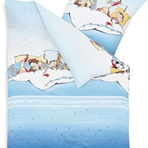 Traumhafte Bettwäsche aus Biber - blau 100x135 von Kaeppel