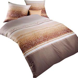 Kuschelige Bettwäsche aus Biber - braun 155x220 von Kaeppel