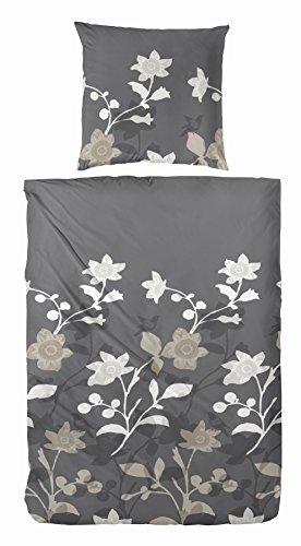 Kuschelige Bettwäsche aus Flanell - grau 155x220 von Hahn