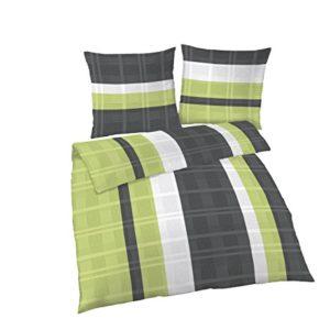 Schöne Bettwäsche aus Biber - grün 135x200 von Ido