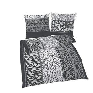 Schöne Bettwäsche aus Biber - schwarz weiß 135x200 von Ido