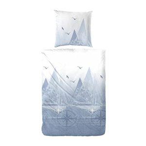 Schöne Bettwäsche aus Perkal - blau 155x220 von Primera