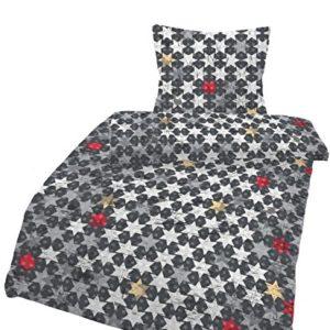 Traumhafte Bettwäsche aus Renforcé - Sterne schwarz 135x200 von Ido