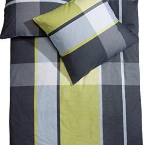 Schöne Bettwäsche aus Biber - grün 155x220 von Erwin Müller