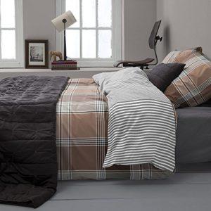 Schöne Bettwäsche aus Perkal - braun 135x200 von Damai