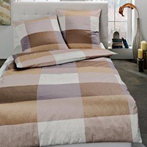 Schöne Bettwäsche aus Satin - braun 135x200 von Estella