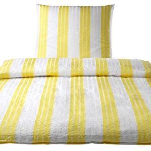Schöne Bettwäsche aus Seersucker - gelb 135x200 von elegante