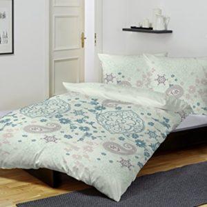 Kuschelige Bettwäsche aus Flanell - blau 155x220 von Primera