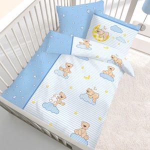 Traumhafte Bettwäsche aus Biber - blau 100x135 von Ido