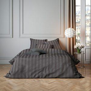 Kuschelige Bettwäsche aus Satin - grau 220x240
